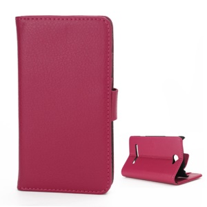 Litchi Leather Wallet Case Stand for HTC Windows Phone 8S - Rose