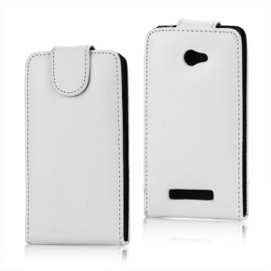 Glossy Magnetic Leather Flip Case for HTC Windows Phone 8X - White