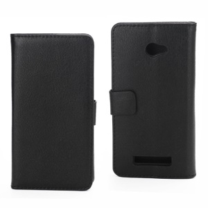 Lychee Leather Wallet Stand Cover Case for HTC Windows Phone 8X - Black