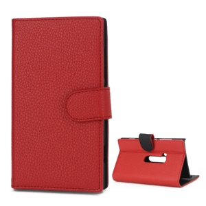 Litchi Leather Wallet Case Stand Cover for Nokia Lumia 920 - Red