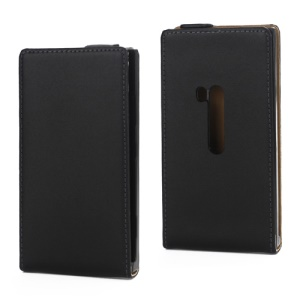 Genuine Split Leather Magnetic Flip Case Cover for Nokia Lumia 920 - Black