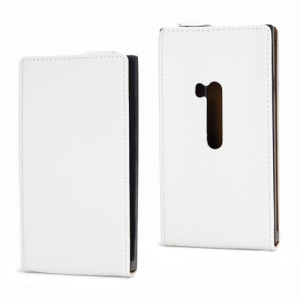 Genuine Split Leather Magnetic Flip Case Cover for Nokia Lumia 920 - White