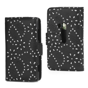 Glittery Powder Flower Leather Wallet Case Cover for Nokia Lumia 920 - Black