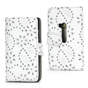 Glittery Powder Flower Leather Wallet Case Cover for Nokia Lumia 920 - White