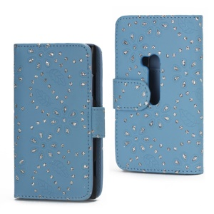 Glittery Powder Flower Leather Wallet Case Cover for Nokia Lumia 920 - Blue