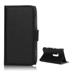 Carbon Fiber Wallet Style Leather Stand Case for Nokia Lumia 920 - Black