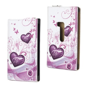 Premium Two Hearts and Butterflies Flip Leather Case for Nokia Lumia 920
