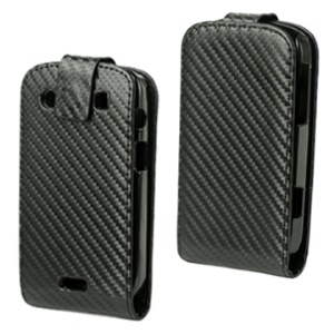 Carbon Fiber Vertical Leather Case for BlackBerry Bold Touch 9900/9930 - Black