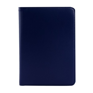 Rotary Litchi Texture Leather Stand Shell Cover for Xiaomi MiPad A0101 - Dark Blue
