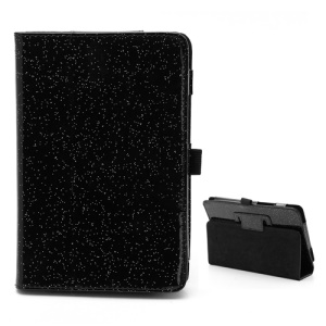 Chic Glittery Powder Glossy Leather Folio Cover with Stand for Acer Iconia Tab A110 - Black