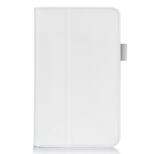 White for Acer Iconia Tab 7 A1-713 Folio PU Leather Stand Cover w/ Hand Strap & Card Slots