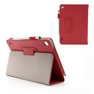 Slim Folio Leather Case Cover Stand with Stylus Touch Pen for Acer Iconia Tab A1-810 7.9-inch - Red