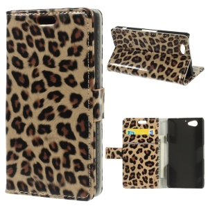 Glossy Leopard Skin Leather Wallet Stand Cover for Sony Xperia A2