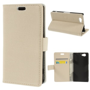 Cloth Leather Wallet Shell w/ Stand for Sony Xperia A2 - Beige
