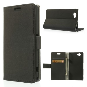 Black Pebble Grain Leather Card Holder Stand Cover for Sony Xperia A2