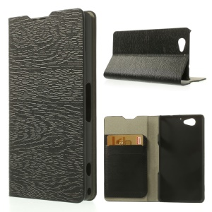 For Sony Xperia A2 Tree Bark Texture Stand Leather Case w/ 2 Card Slots - Black