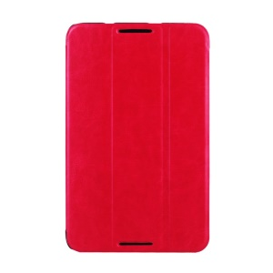 Crazy Horse Grain Smart Leather Tri-fold Stand Cover for Lenovo IdeaTab A7-50 A3500 - Red