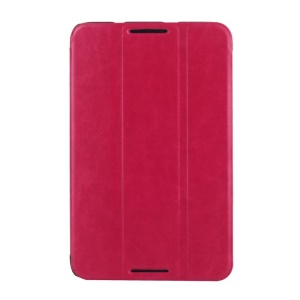 Crazy Horse Grain Smart Leather Tri-fold Stand Shell for Lenovo IdeaTab A7-50 A3500 - Rose