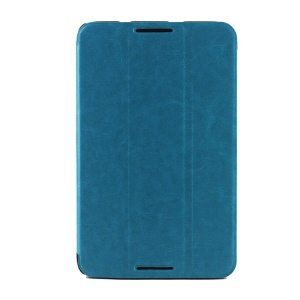 Crazy Horse Grain Smart Tri-fold Leather Case for Lenovo IdeaTab A7-50 A3500 - Light Blue