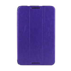 Crazy Horse Grain Smart Tri-fold Leather Case Cover for Lenovo IdeaTab A7-50 A3500 - Purple
