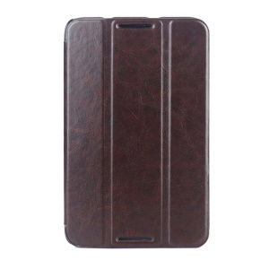 Crazy Horse Grain Smart Tri-fold Leather Case Shell for Lenovo IdeaTab A7-50 A3500 - Coffee