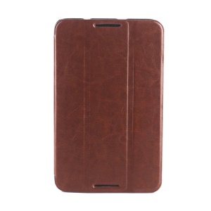 Crazy Horse Grain Smart Tri-fold Leather Shell for Lenovo IdeaTab A7-50 A3500 - Brown