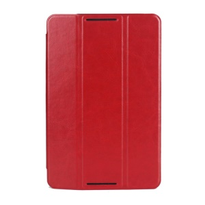 Red Crazy Horse Texture Tri-fold Smart Leather Cover for Lenovo IdeaTab A8-50 A5500