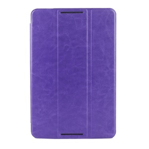 Purple Crazy Horse Texture Tri-fold Smart Leather Magnetic Cover for Lenovo IdeaTab A8-50 A5500