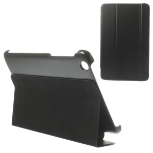 Tri-fold Magnetic Stand Leather Flip Case for Lenovo IdeaTab A8-50 A5500 - Black