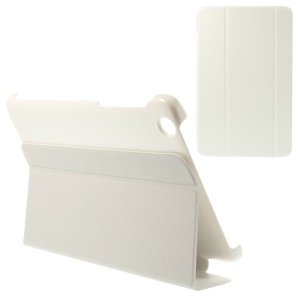 Tri-fold Magnetic Stand Leather Flip Case for Lenovo IdeaTab A8-50 A5500 - White