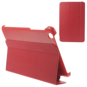 Tri-fold Magnetic Stand Leather Case Cover for Lenovo IdeaTab A8-50 A5500 - Red