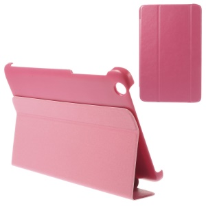 Tri-fold Magnetic Stand Leather Case Cover for Lenovo IdeaTab A8-50 A5500 - Rose