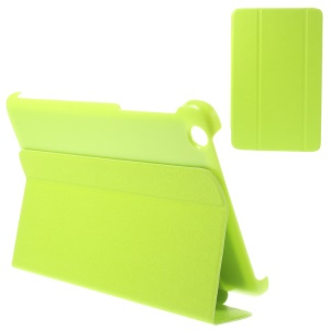 For Lenovo IdeaTab A8-50 A5500 Tri-fold Magnetic Stand PU Leather Case - Yellowgreen