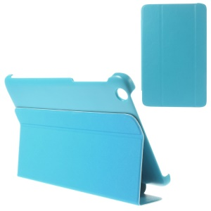 For Lenovo IdeaTab A8-50 A5500 Tri-fold Magnetic Stand PU Leather Shell Case - Blue