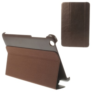 For Lenovo IdeaTab A8-50 A5500 Tri-fold Magnetic Stand Leather Shell Cover - Coffee
