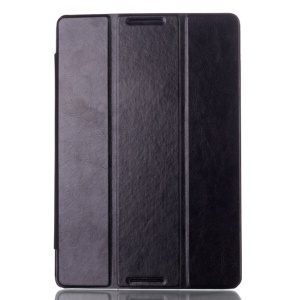 Crazy Horse Tri-fold PU Smart Leather Stand Case for Lenovo IdeaTab A10-70 A7600 - Black