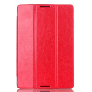 Crazy Horse Tri-fold Stand PU Leather Smart Cover for Lenovo IdeaTab A10-70 A7600 - Red