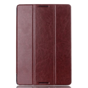 Crazy Horse Magnetic Tri-fold Smart Leather Stand Shell for Lenovo IdeaTab A10-70 A7600 - Coffee