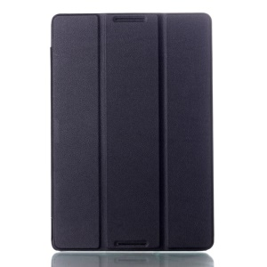 Black Textured Tri-fold Stand Leather Smart Case for Lenovo IdeaTab A10-70 A7600