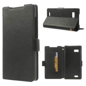 Black for Lenovo A788t Doormoon Genuine Leather Card Holder Cover w/ Stand