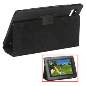 Carbon Fiber Leather Folding Case with Built-in Holder for Acer Iconia Tab A500/A501