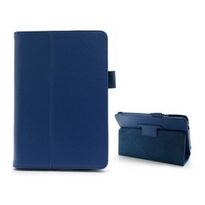 Litchi Grain Stand Holder Folio Leather Case for Acer Iconia Tab B1-A71 - Blue