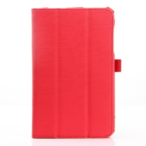 Red Horizontal Tree Bark Grain Flip Leather Protective Case for Acer Iconia B1-720
