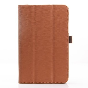 Brown Horizontal Tree Bark Grain Stand Leather Folio Case for Acer Iconia B1-720
