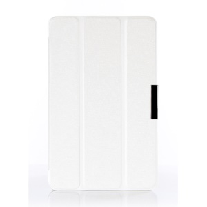 White Silk Texture Tri-fold Leather Stand Cover for Acer Iconia B1-720