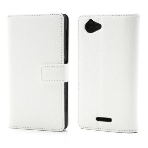 White Magnetic Litchi Wallet Leather Stand Case Cover for Sony Xperia L S36h C2104 C2105