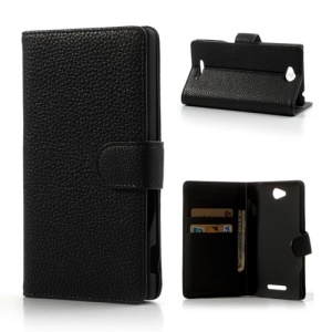 Black Lychee Leather Wallet Stand Case for Sony Xperia C S39h C2305