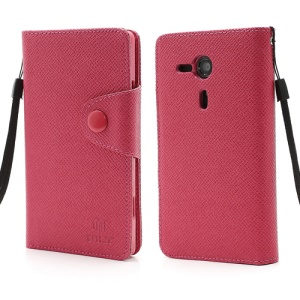 MLT TPU Inner Case Leather Wallet Cover for Sony Xperia SP M35h C5303 C5302 C5306 - Rose