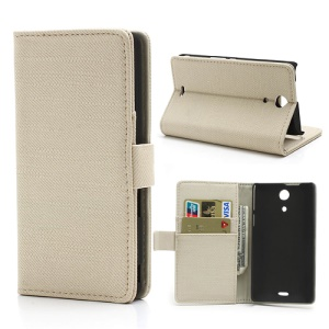 Beige Cloth Texture Wallet Leather Stand Case for Sony Xperia ZR M36h C5503 C5502