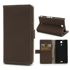 Coffee Cloth Texture Wallet Leather Case Stand for Sony Xperia ZR M36h C5503 C5502